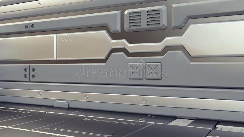 3D rendent l'intérieur Vestibule futuriste Conception de l'avant-projet intérieure illustration stock