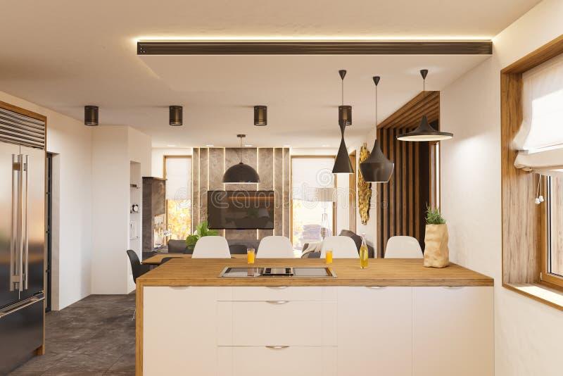 3d rendent la conception intérieure moderne de salon et de cuisine avec la cheminée illustration de vecteur