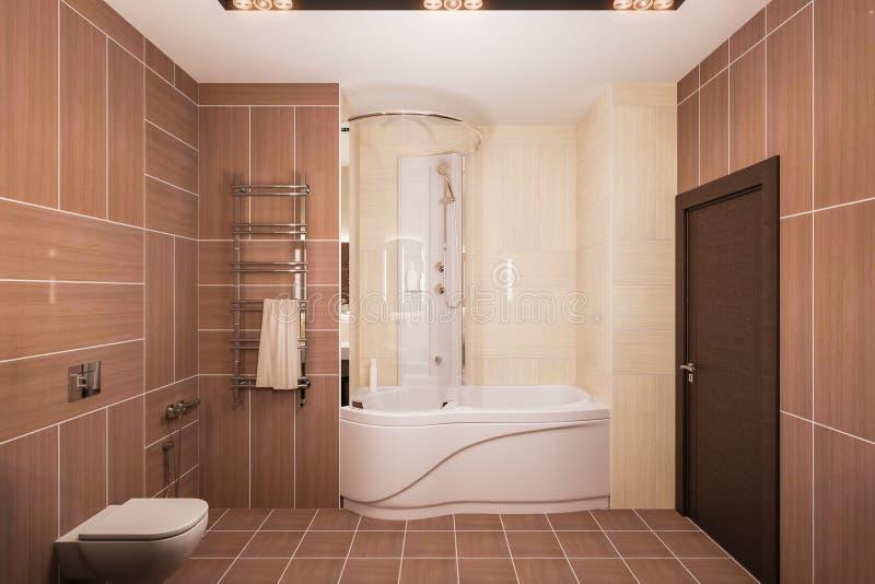 3d rendent la conception intérieure d'une salle de bains moderne avec un grand miroir illustration de vecteur