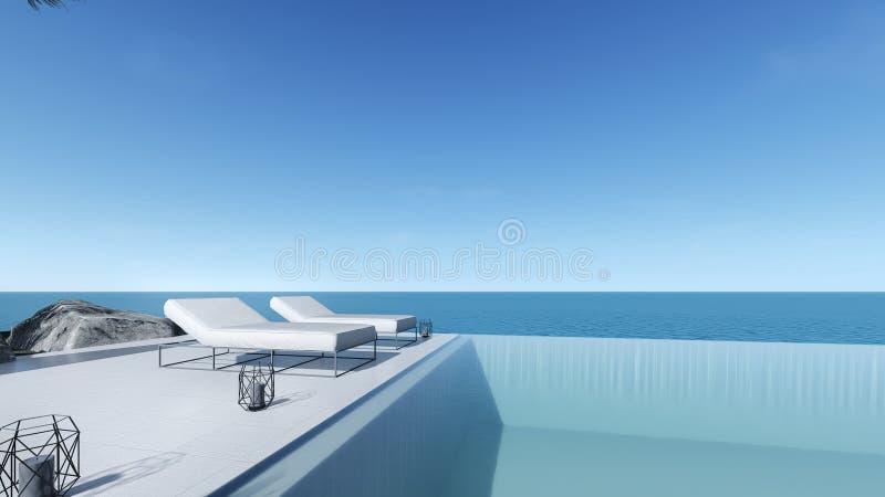 3d rendent la vue de mer de terrasse de piscine détendent le lit extérieur de piscine illustration de vecteur