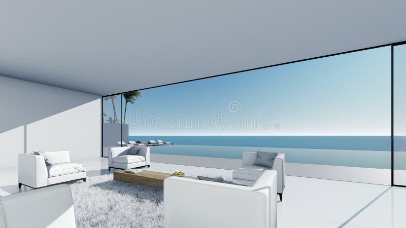 3d rendent la vue de mer de terrasse de piscine détendent le salon droit de vue illustration libre de droits