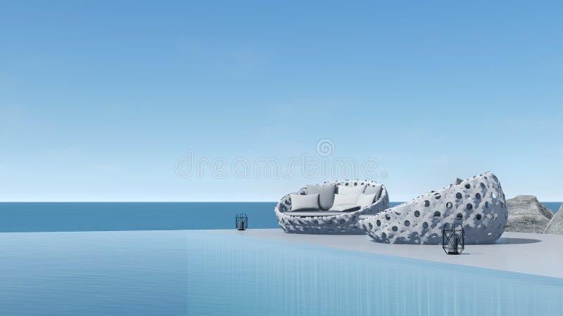3d rendent la vue de mer de terrasse de piscine détendent les sièges extérieurs illustration de vecteur