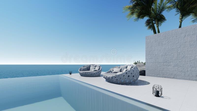 3d rendent la vue de mer de terrasse de piscine détendent la porte illustration stock