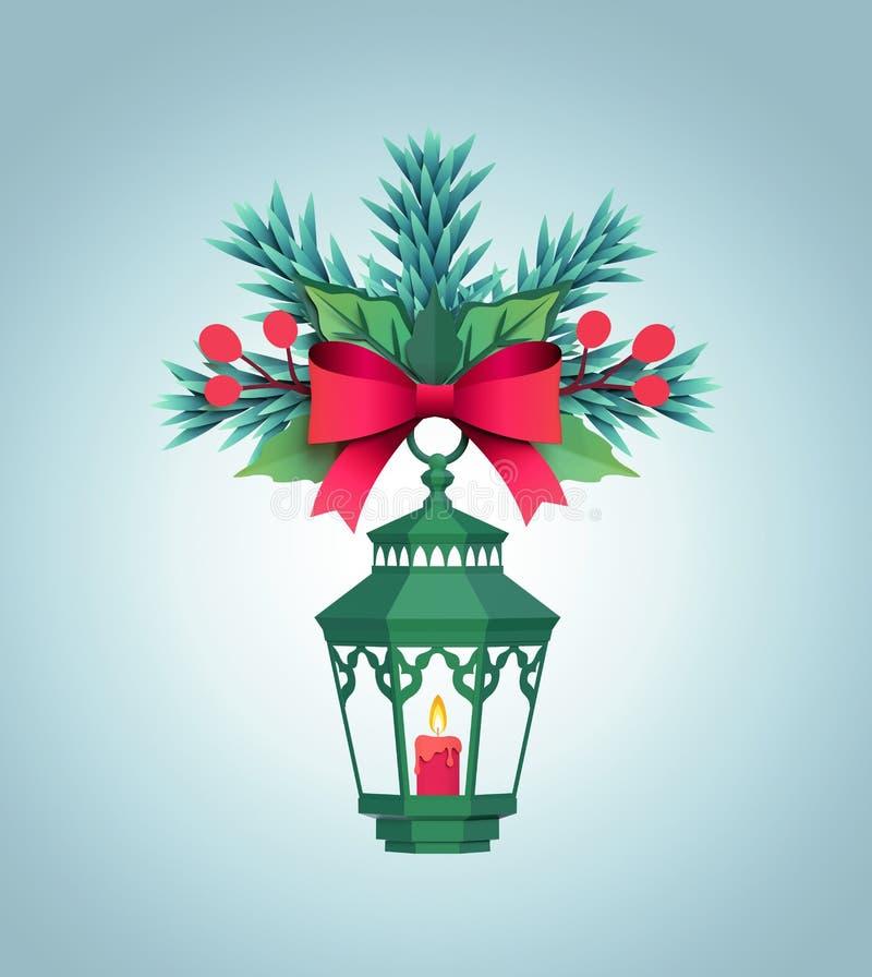 3d rendent, lanterne de Livre vert de Noël, lumière de bougie, poin rouge illustration de vecteur