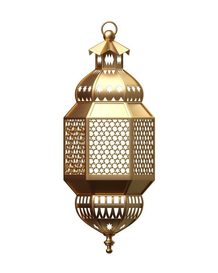 3d rendent, lanterne d'or, lampe magique, décoration arabe tribale, conception d'arabesque, illustration numérique, objet d'isole illustration libre de droits
