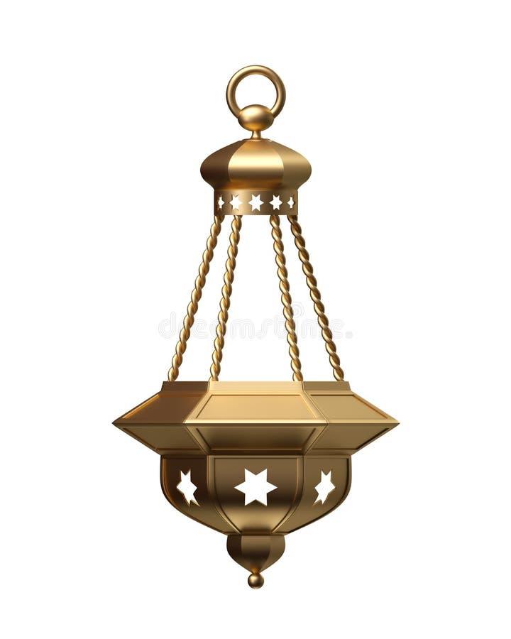 3d rendent, lanterne d'or, lampe magique, décoration arabe tribale, conception d'arabesque, illustration numérique, objet d'isole illustration de vecteur