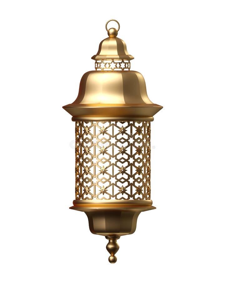 3d rendent, lanterne d'or, lampe magique, décoration arabe tribale, conception d'arabesque, illustration numérique, objet d'isole illustration stock
