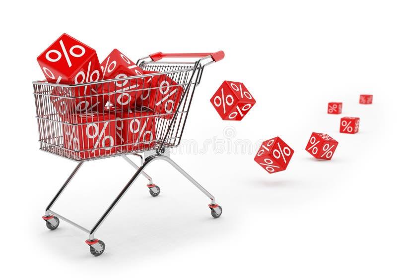 3d rendent - le caddie avec les cubes rouges de pour cent illustration stock