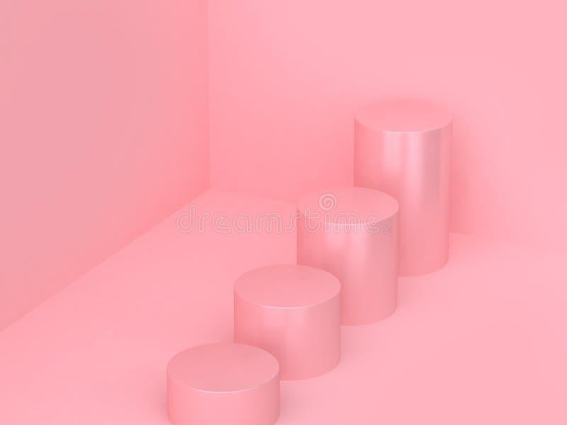 3d rendent le coin abstrait minimal de mur de forme géométrique à quatre cylindres d'étape illustration libre de droits
