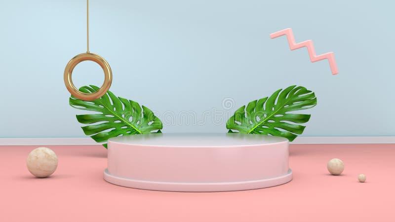 3d rendent le fond abstrait avec le podium, les sphères, les éléments d'or et les palmettes dans le style rose minimal de conc illustration stock