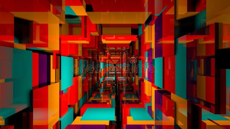 3D rendent le fond abstrait Long couloir photo stock