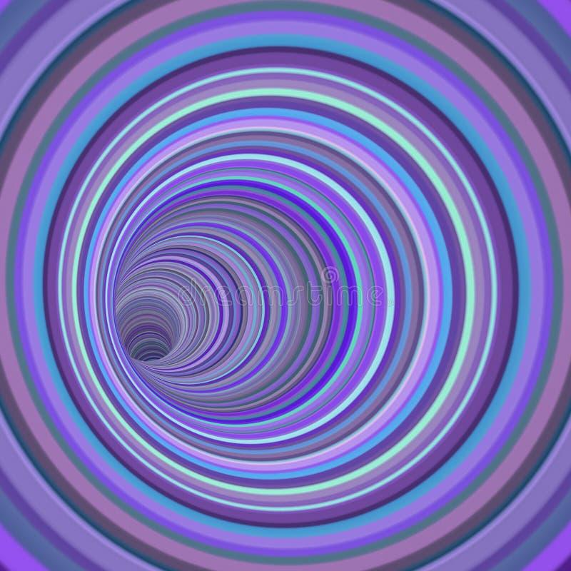 3d rendent le vortex de tunnel dans la couleur rayée pourpre multiple illustration libre de droits