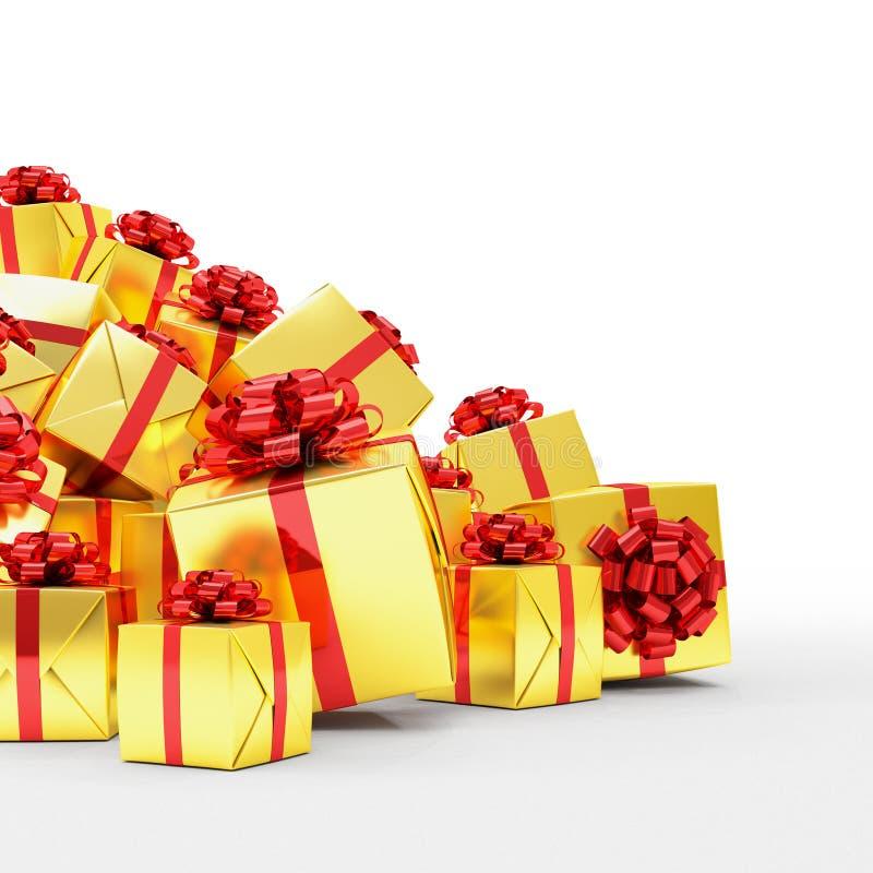 3d rendent - les boîte-cadeau d'or de Noël avec les rubans rouges illustration de vecteur