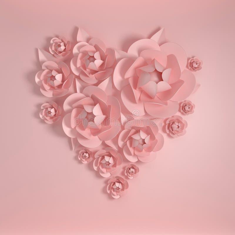 3d rendent les fleurs de papier, forme de coeur Couleurs en pastel, fond rose et fleurs de papier Composition florale, épouser, q illustration stock