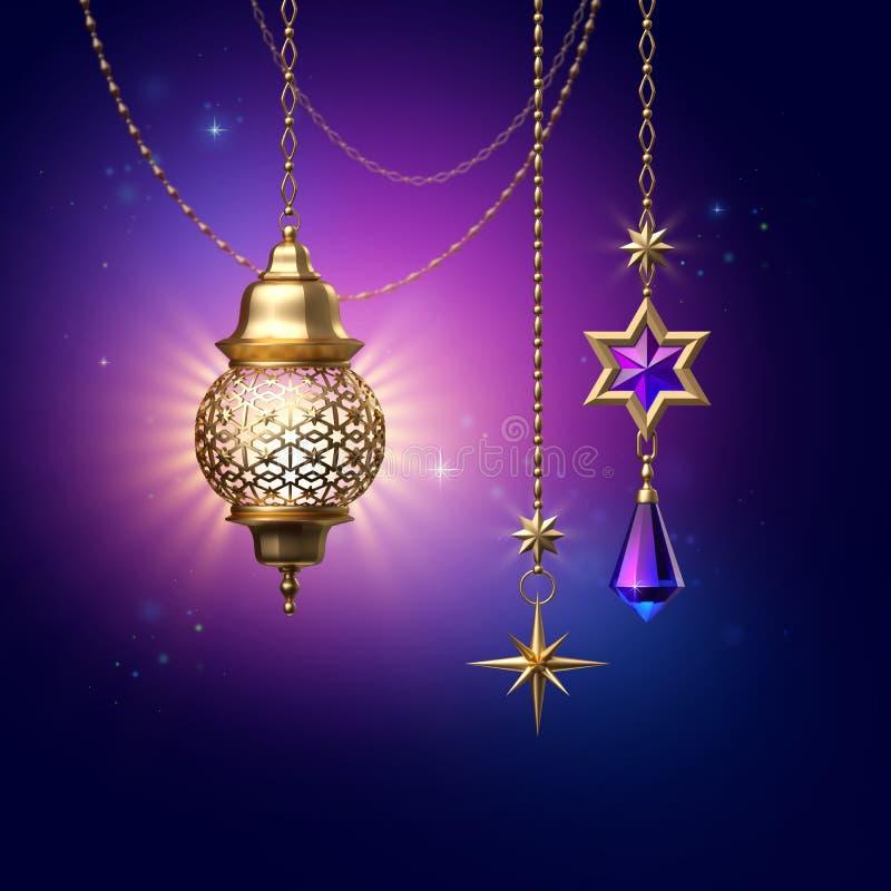 3d rendent, les lanternes décoratives accrochant sur les chaînes d'or, Ramadan Kareem, rougeoyant les ornements traditionnels lég illustration stock