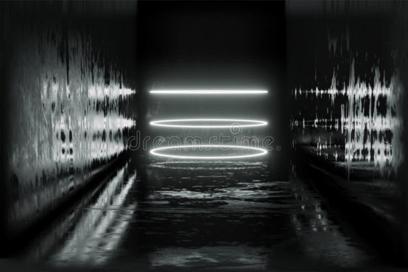 3d rendent, les lignes rougeoyantes, tunnel, lampes au néon, réalité virtuelle, fond abstrait, portail de place, voûte, vibra ble illustration stock