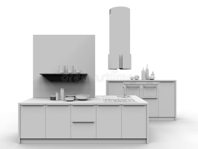 3D rendent - les meubles minimaux de cuisine illustration de vecteur