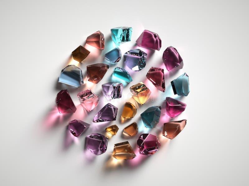3d rendent, ont assorti les cristaux spirituels colorés d'isolement sur le fond blanc, pierres gemmes, le quartz curatif, pépites illustration stock