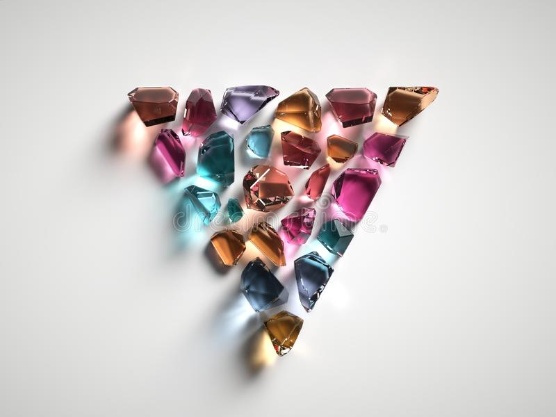 3d rendent, ont assorti les cristaux spirituels colorés d'isolement sur le fond blanc, pierres gemmes, quartz curatif, triangle d illustration libre de droits