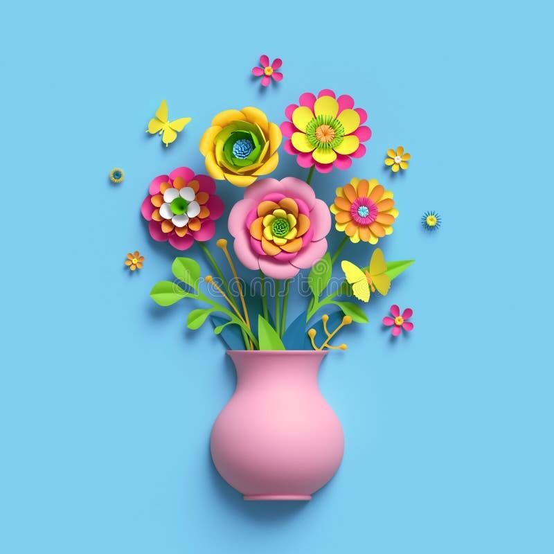 3d rendent, ouvrent les fleurs de papier, vase rose, bouquet floral, disposition botanique, couleurs de sucrerie, clipart (images illustration stock