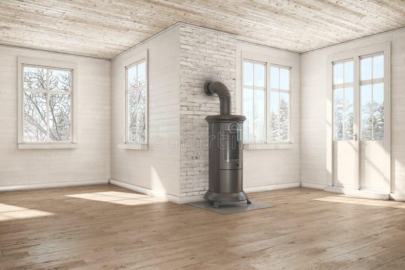 3d rendent - pièce vide scandinave - la cheminée - hiver illustration stock