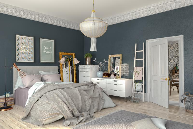 3d rendent - scandinave - la chambre à coucher nordique illustration stock