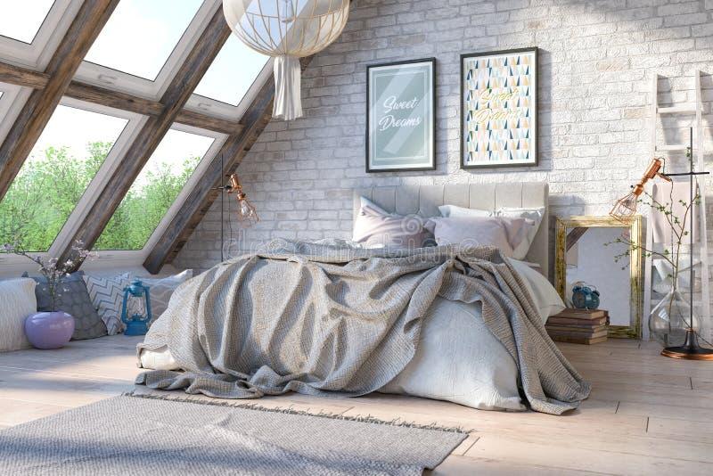 3d rendent - scandinave - la chambre à coucher nordique illustration libre de droits