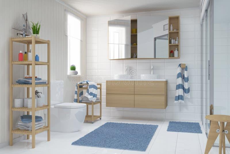 3d rendent - Scandinave - le bathroo nordique illustration stock