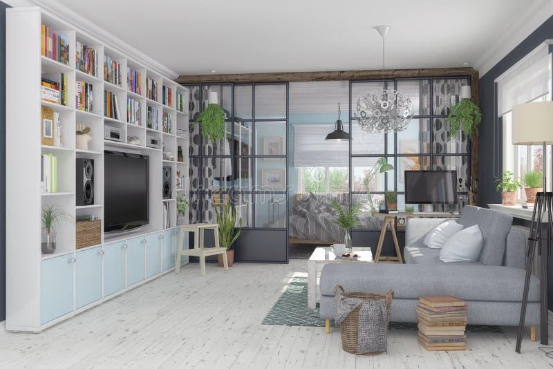 3d rendent d'un appartement scandinave et nordique - salon et illustration stock