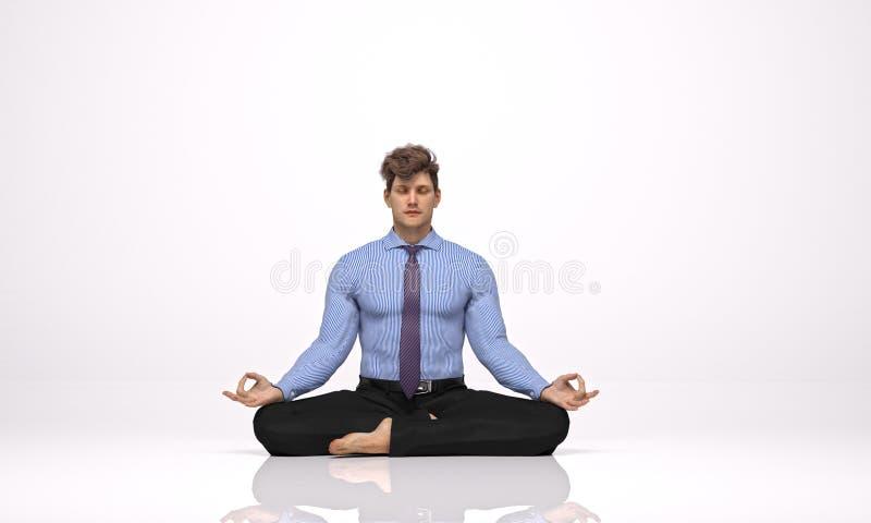3D rendent : un homme d'affaires s'asseyant sur le plancher, méditant illustration stock