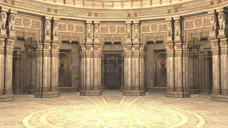 3D rendent d'une cour de style d'imagination, d'une salle de trône ou d'une salle de bal illustration libre de droits