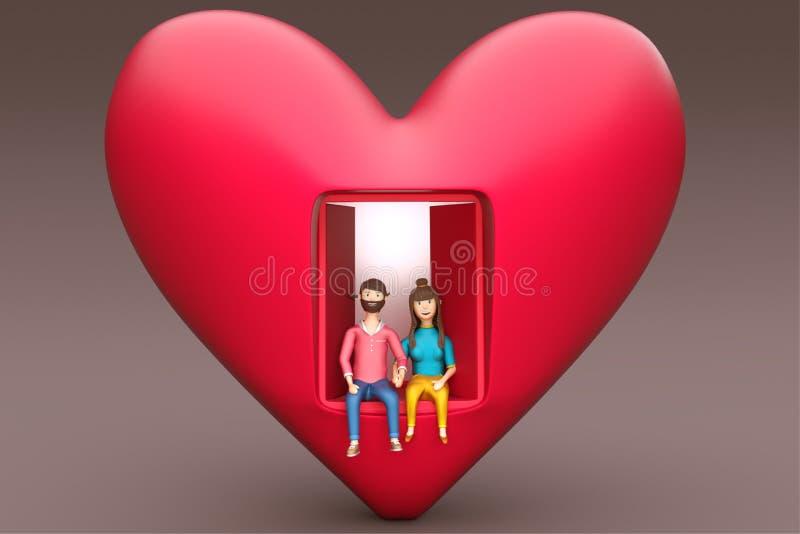 3D rendent d'une maison de forme de coeur avec de jeunes couples illustration libre de droits