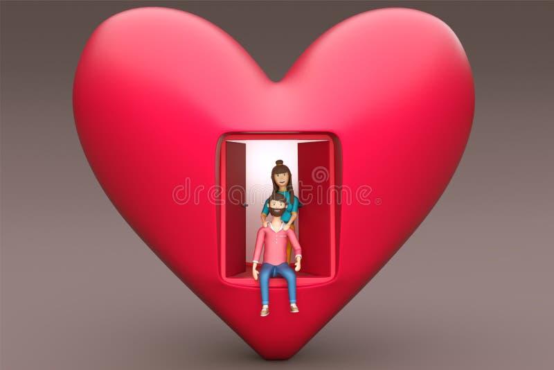 3D rendent d'une maison de forme de coeur avec le jeune caractère de couples illustration de vecteur