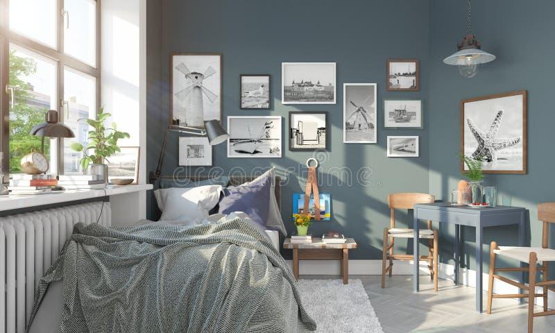 3d rendent d'une petite chambre à coucher scandinave illustration de vecteur