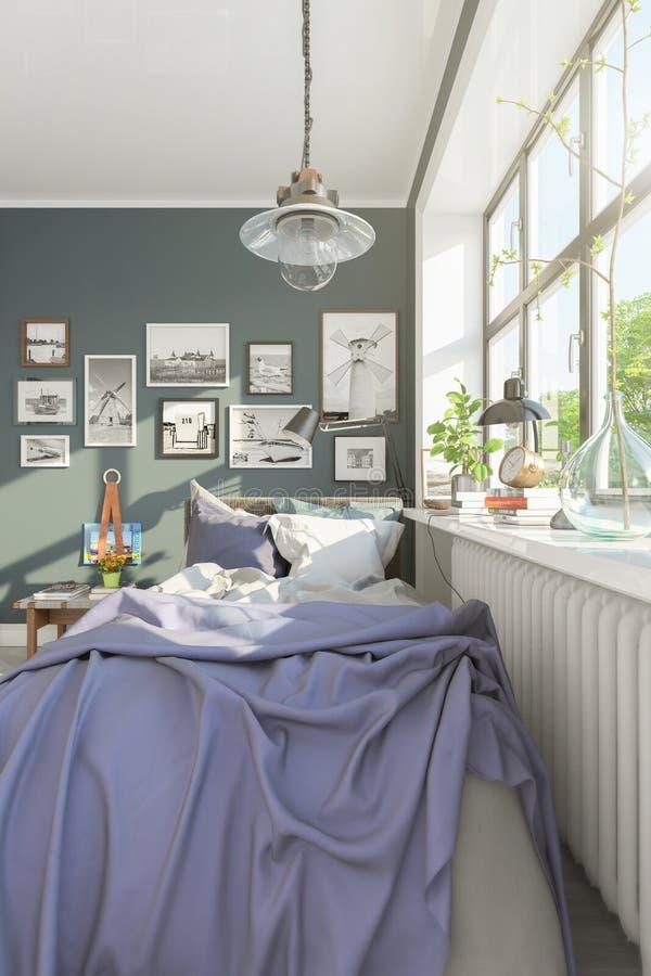 3d rendent d'une petite chambre ? coucher scandinave illustration stock