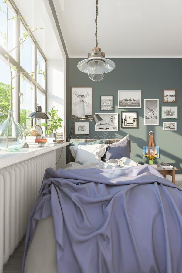 3d rendent d'une petite chambre ? coucher scandinave illustration de vecteur