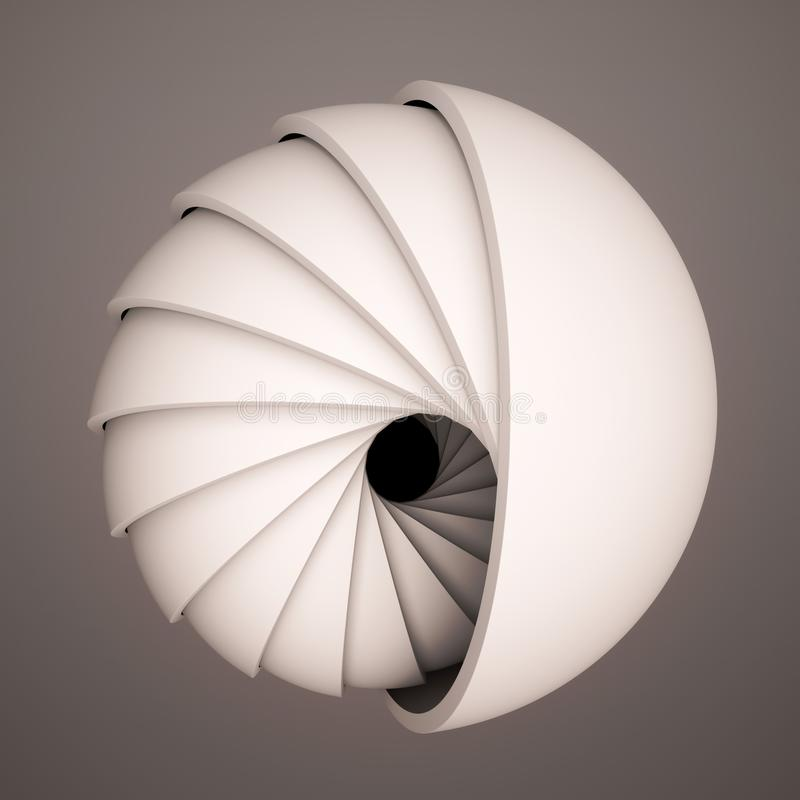 3D render abstract background. Black and white shapes in motion. Hemisphere revolve in a spiral. Computer generated digital art fo vector illustration