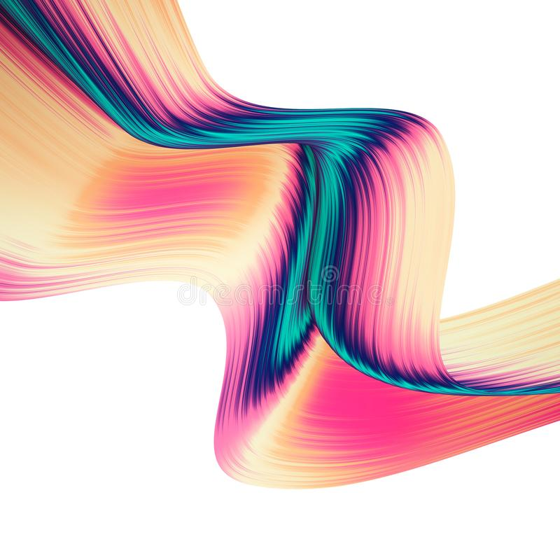 3D render abstract background. Colorful twisted shapes in motion. Computer generated digital art for poster, flyer, banner. vector illustration