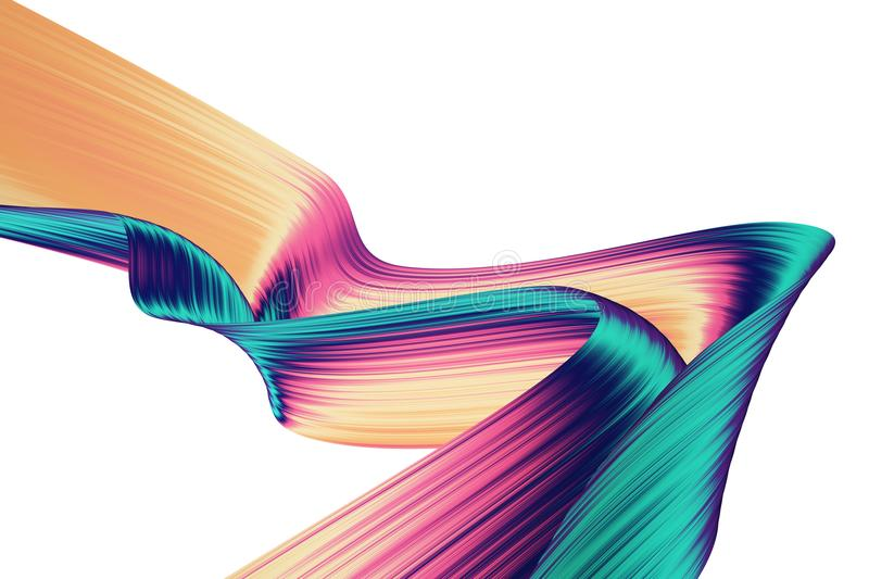 3D render abstract background. Colorful twisted shapes in motion. Computer generated digital art for poster, flyer, banner. royalty free illustration