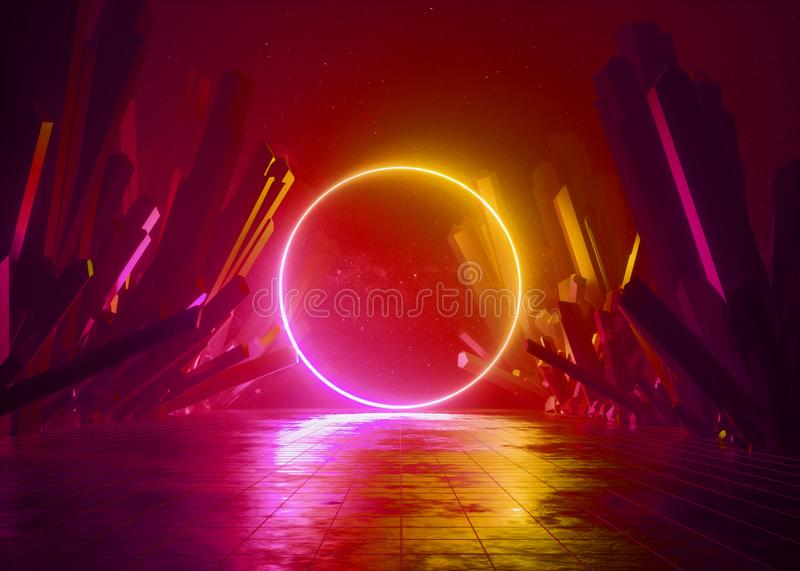 3d render, abstract background, cosmic landscape, round portal frame, red neon light, virtual reality, energy, glowing fire ring. Dark space, infrared spectrum royalty free illustration