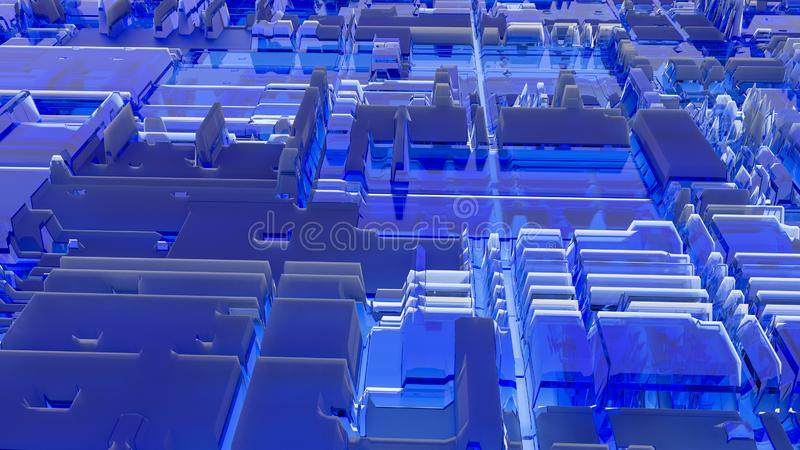 3d render abstract background. Geometry blue sci-fi cubes shapes that goes up and down. royalty free stock photo