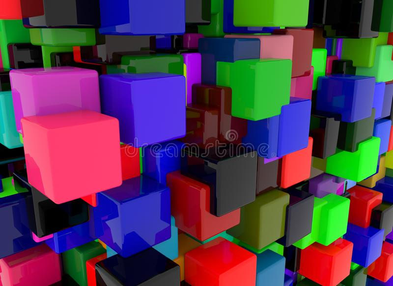 3d render abstract background. Geometry shapes that goes up and down. royalty free stock photo