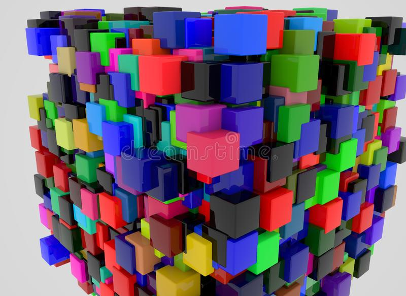 3d render abstract background. Geometry shapes that goes up and down. royalty free stock image