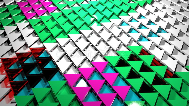 3d render abstract background. Triangle form. 3d render abstract background. Geometry shapes that goes up and down. Triangle cross-section form. Random red green royalty free stock photo