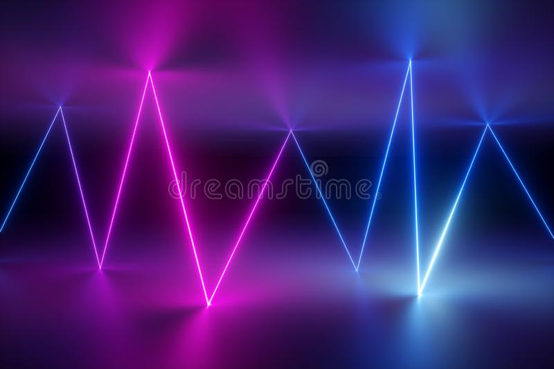 3d render, abstract background, glowing lines, lightning, ultraviolet, neon lights, laser show, virtual reality, zigzag rays stock photos