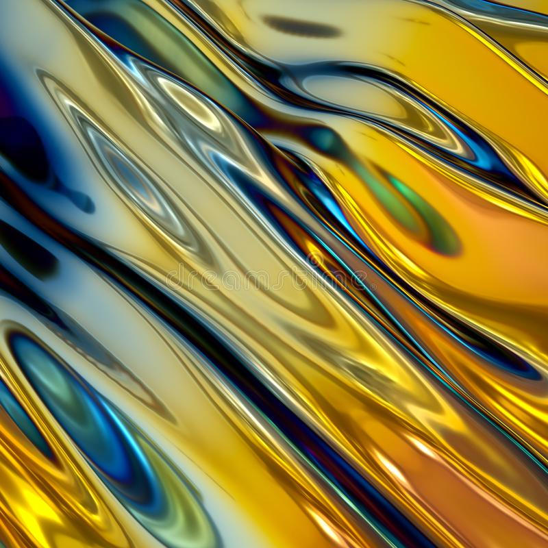 3d render, abstract background, gold holographic foil, iridescent wavy glass, cosmic texture, ripples, liquid surface, metallic. 3d render of abstract background stock photo