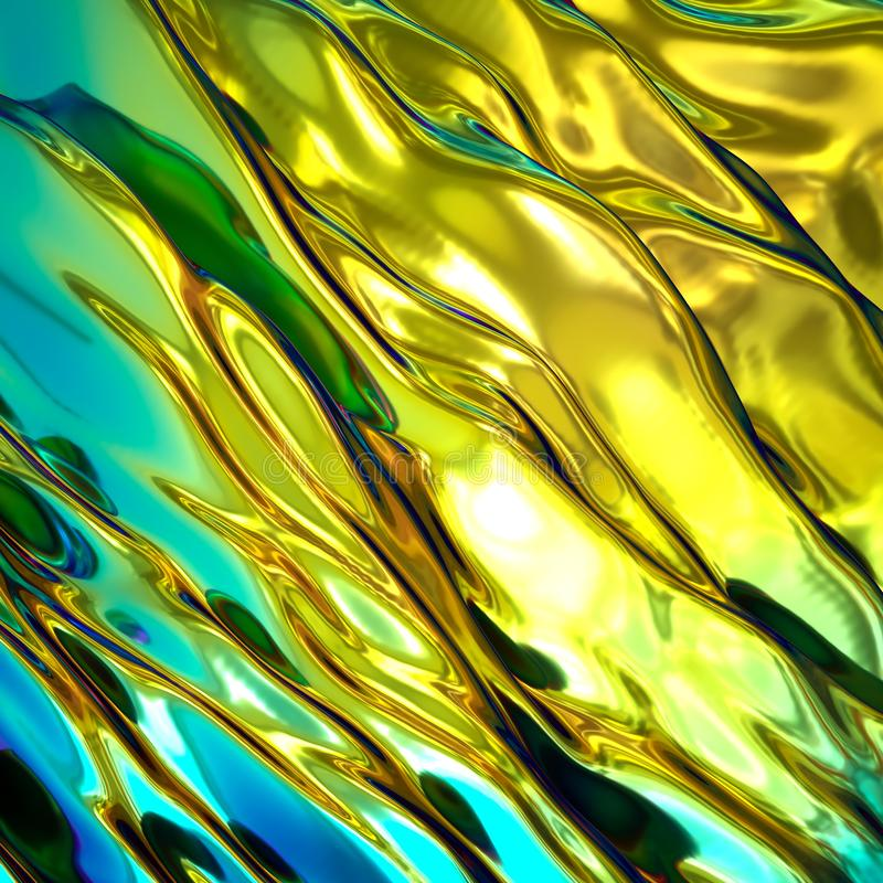 3d render, abstract background, iridescent holographic foil, gold wavy wallpaper, fluid ripples, liquid metal surface, esoteric. 3d render of abstract background stock image