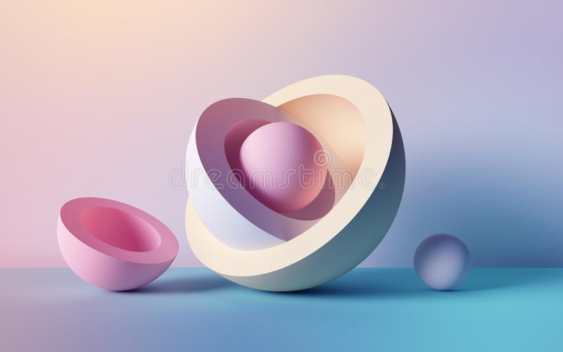 3d render, abstract background, pastel neon balls, primitive geometric shapes, simple mockup, minimal design elements vector illustration