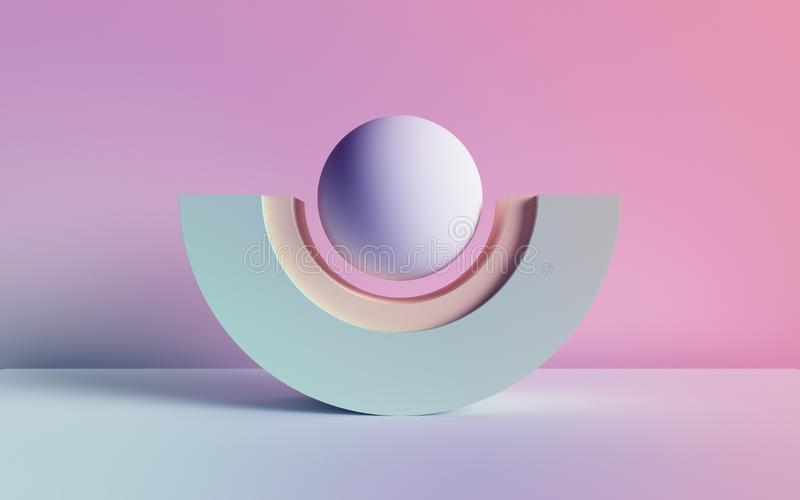 3d render, abstract background, pastel neon primitive geometric shapes, ball, arch, simple mockup, minimal design elements. 3d render of abstract background royalty free illustration