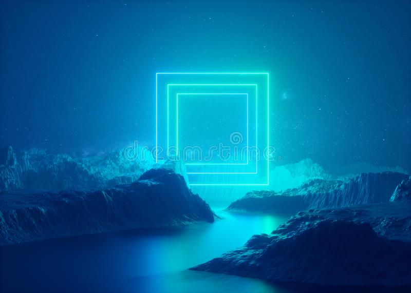 3d render, abstract background, rectangular portal, glowing square frame, smog, fog, landscape, virtual reality space. 3d render abstract esoteric background royalty free illustration